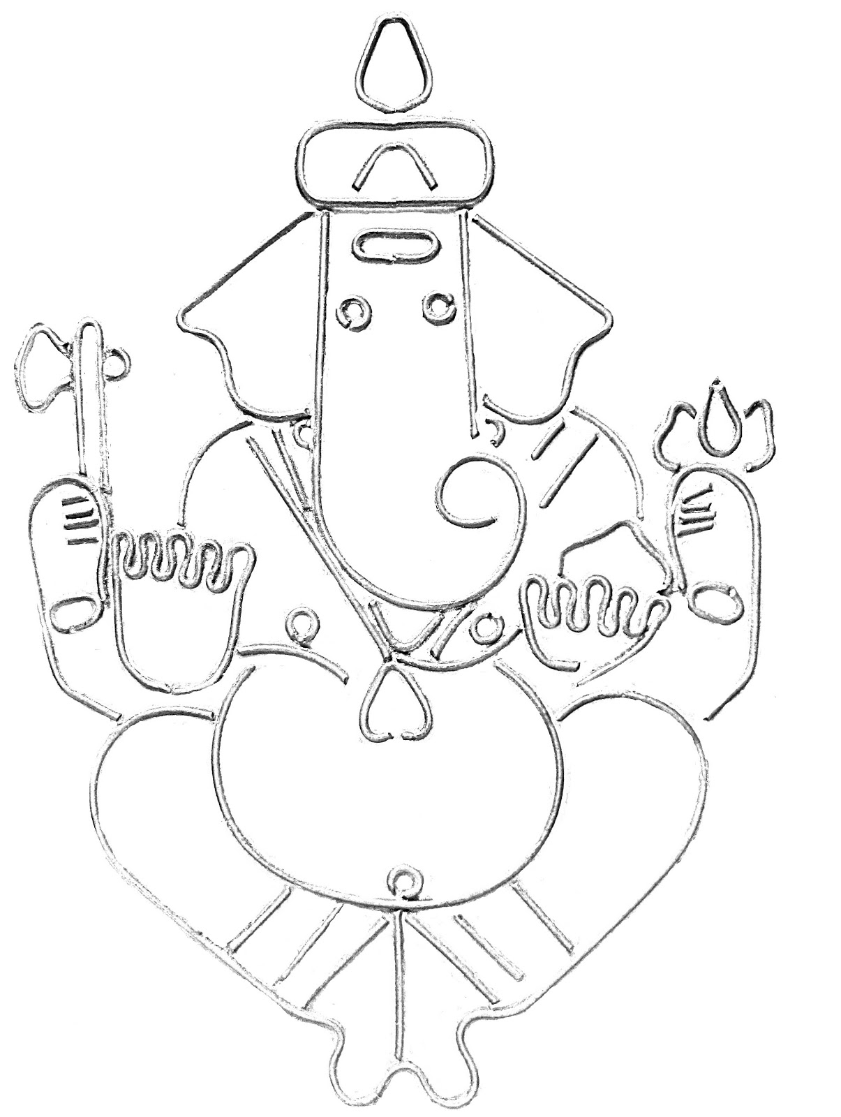Line Drawing Ganesha : Ganesh line drawing