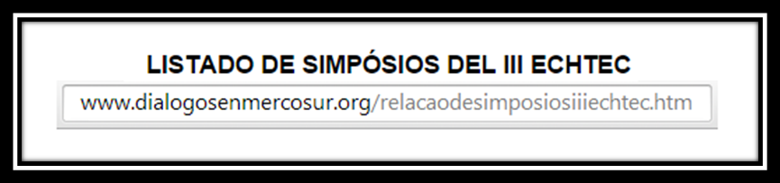 ESCOLHA SEU SIMPÓSIO - III ECHTEC 2015