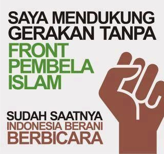 "Digital art by blogger Hasyim Soska which reads ""I support Without FPI movement. It's time for Indonesia to speak up."""