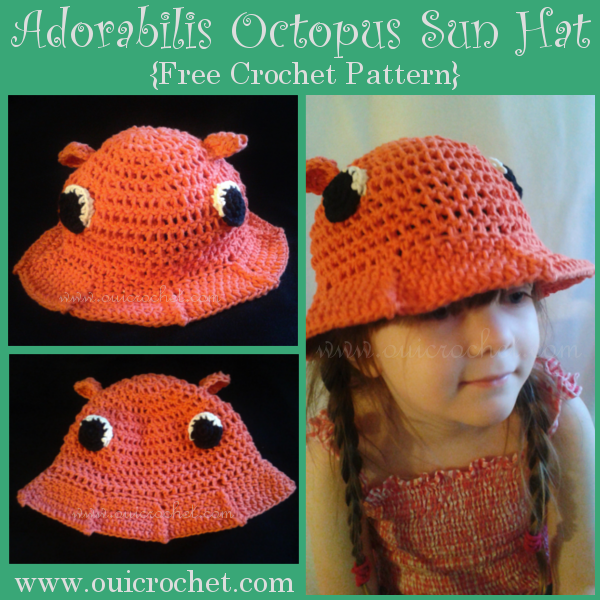 Oui Crochet Adorabilis Octopus Toddler Sun Hat Free Crochet Pattern Amazing Crochet Octopus Hat Pattern