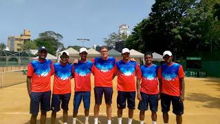 Sri Lanka Davis Cup 2015 team - Harshana Godamanne, Sankha Atukorale, Yasitha de Silva, Dominic Utzinger (Coach), Rohan de Silva (Non playing captain) and Sharmal Dissanayake, Dineshkanthan Thangaraja