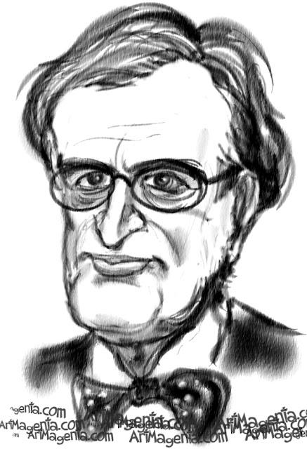 David McCallum caricature cartoon. Portrait drawing by caricaturist Artmagenta