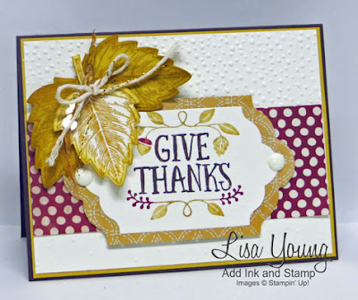 Stampin' Up! fall card. Thankful Forest Friends sentiment and Vintage Leaves accent. Handmade Thanksgiving card. Handmade Autumn card.. Lisa Young, Add Ink and Stamp