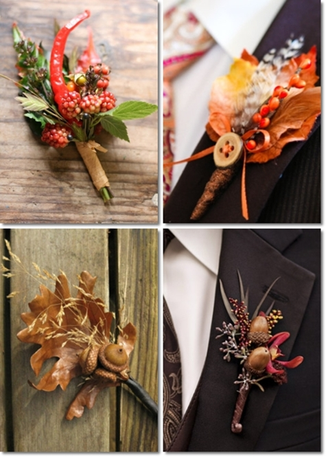 Höst cosages, knapphålsblomma höst,  Autumn Boutonniers