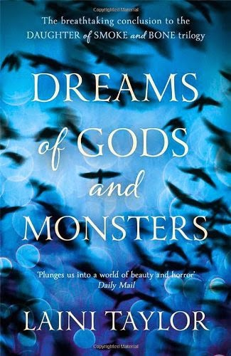 UK hardback cover of Dreams of Gods and Monsters by Laini Taylor