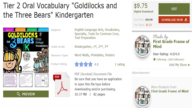 https://www.teacherspayteachers.com/Product/Tier-2-Oral-Vocabulary-Goldilocks-and-the-Three-Bears-Kindergarten-1869436