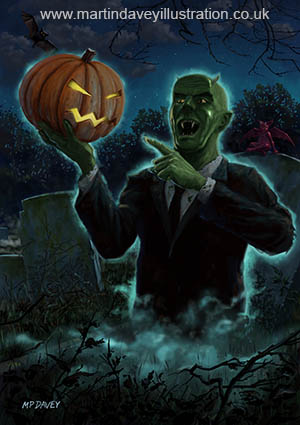 Halloween Ghoul rising from Grave with pumpkin digital horror painting
