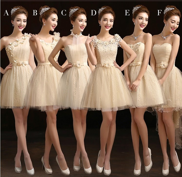 Stunningly Beautiful 6-Design Cream Tutu Midi Bridesmaids Dress