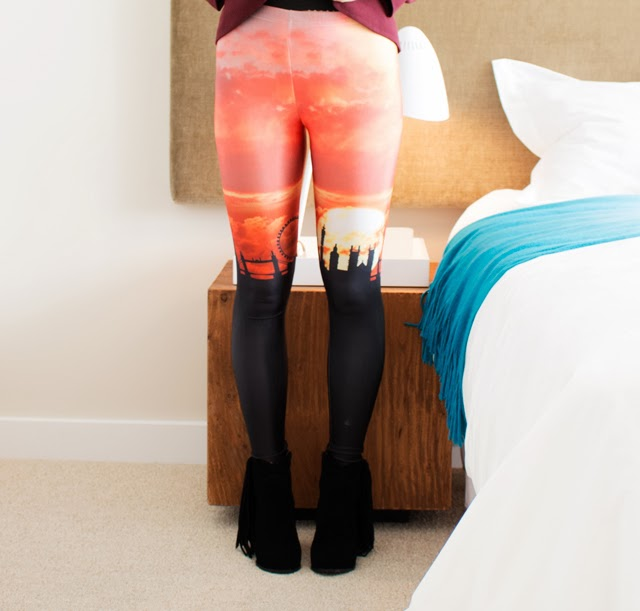 Vancouver Fashion blogger Jasmine Zhu wearing london skyline leggings