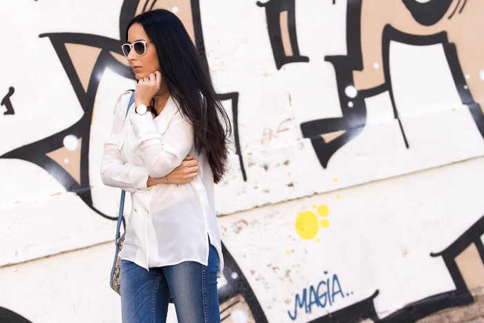 White Double Breasted shirt by Zara and B-Side Jeans by Meltin' Pot