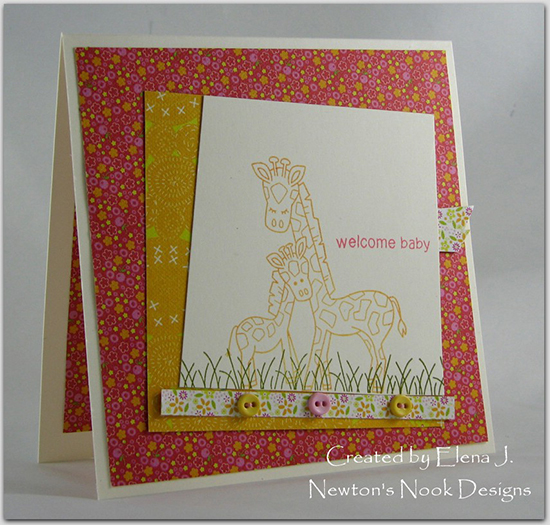 Giraffe baby card by Elena J for Newton's Nook Designs | Wild Child Stamp Set