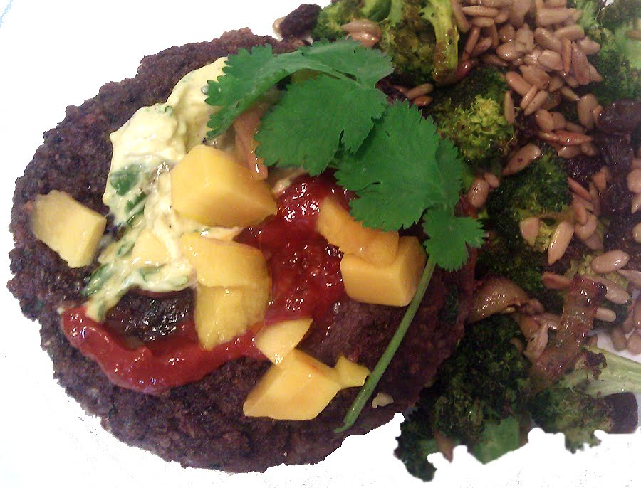 Meat: Black Bean Burgers with Mango, Curry Mayonnaise & Spicy Jalapeno ...