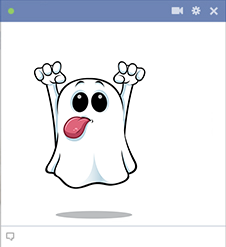 Tongue out ghost sticker