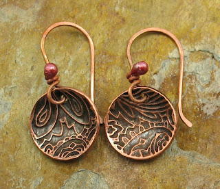 Copper Earrings With Rosy Ear Wires