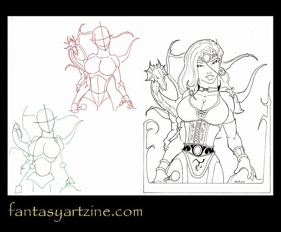 How to draw a witch and her pet dragon.