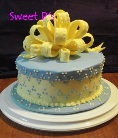 Swiss Dot cake with bow