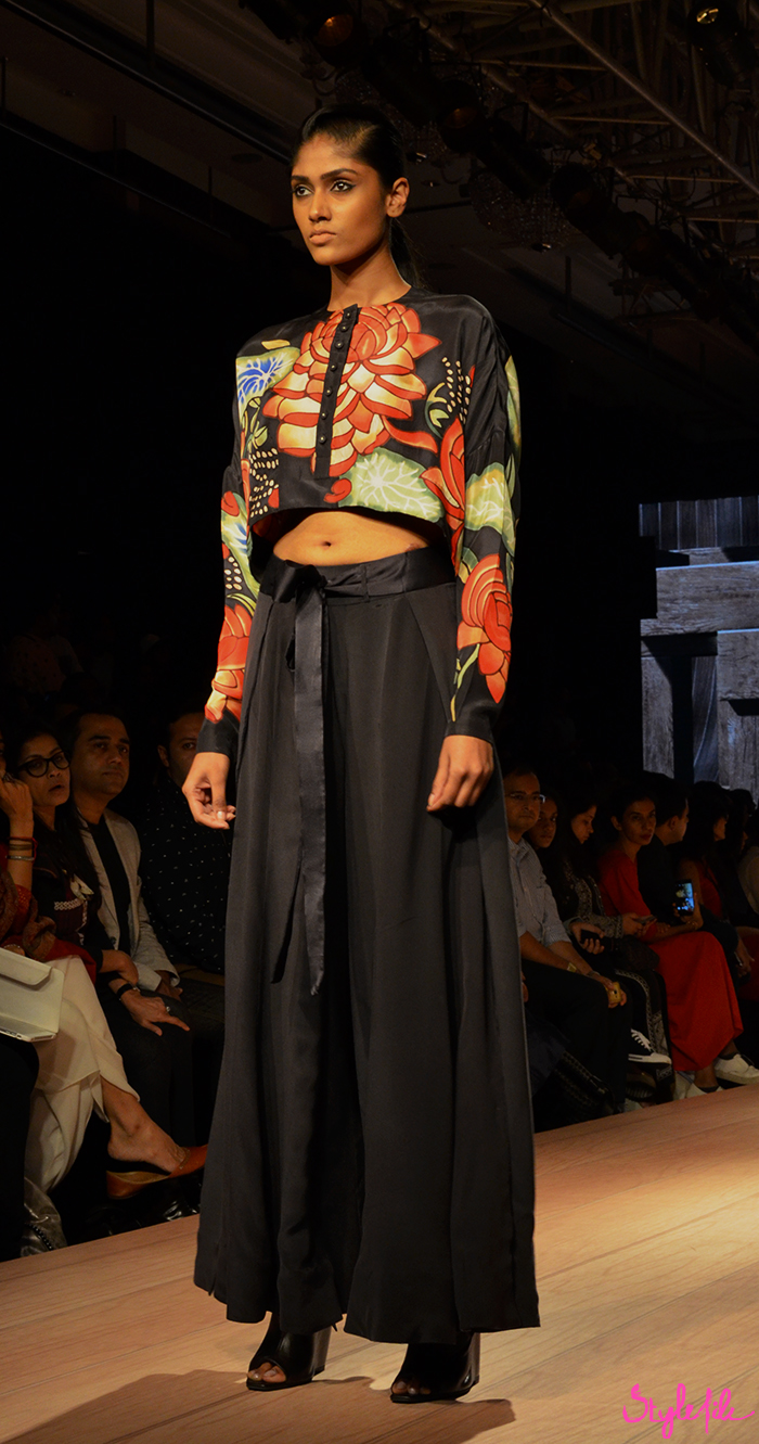 Anand Kabra showcases his latest winter festive collection with the a lotus motif and floral prints at Lakme Fashion Week held at St. Regis, Mumbai