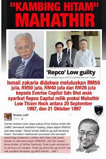 """""""Kambing Hitam"""" Mahathir Di Jatuhkan Hukuman Di Bawah BAFIA Akibat Mengikut Arahan Mahathir Beri Kelulusan Pinjaman Kepada Syarikat Kroni Milik Repco Low"""