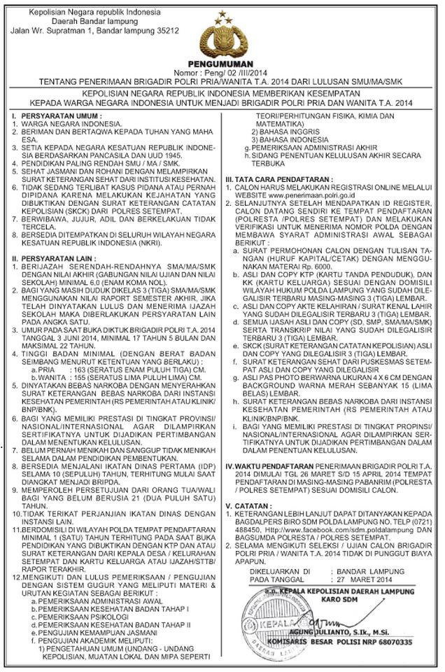 Info Penerimaan Brigadir POLRI Lulusan SMA/MA/SMK TA 2014