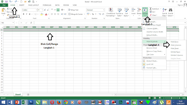 Hide & unhide cell excel 2013