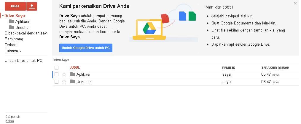 cara mengupload dan mendownload menggunakan GDrive. Sekian, semoga