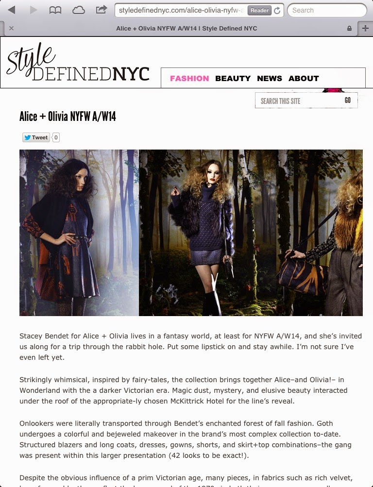 Olivia Inkster writer review, Alice and Olivia fashion week write up, best NYFW reviews