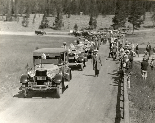 Calvin Coolidge's Motorcade Visit in Yellowstone National Park (Ca. 1920's)