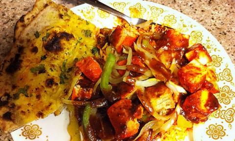 Chicken Tikka Masala with Saffron Rice and Garlic Naan