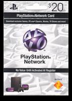 Frente de una Tarjeta Playstation Network Cards de 20 dólares