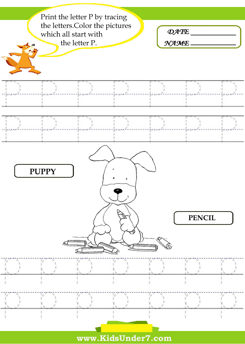 Alphabet worksheets.Trace and Print Letter P