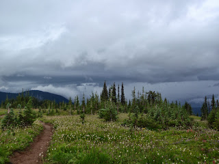 View from the Pacific Crest Trail of the storm rolling in to the Cascades