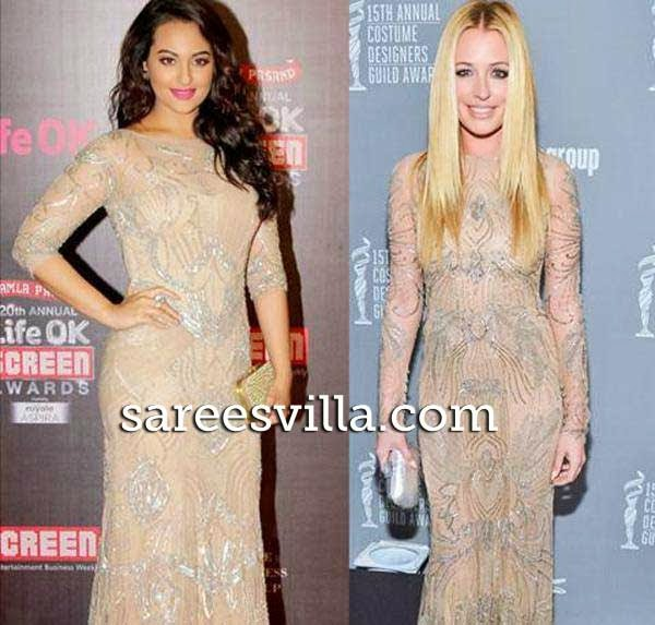 Sonakshi Sinha and Cat Deeleys in same gown