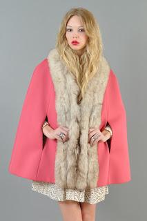 Vintage 1960's hot pink Lilli Ann cape with fox fur trim.