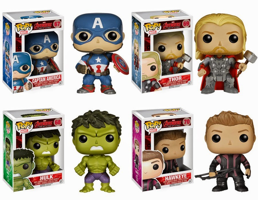 The Avengers Age of Ultron Pop! Marvel Vinyl Figures by Funko - Captain America, Thor, Hulk & Hawkeye