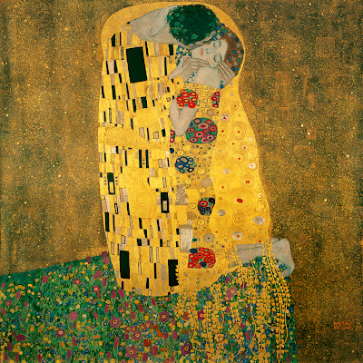 "Famous Painting ""The Kiss"" by Gustav Klimt, 1908"