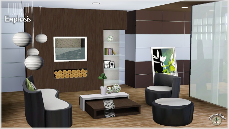 My sims 3 blog emphasis living room set by simcredible for Sims 3 living room ideas