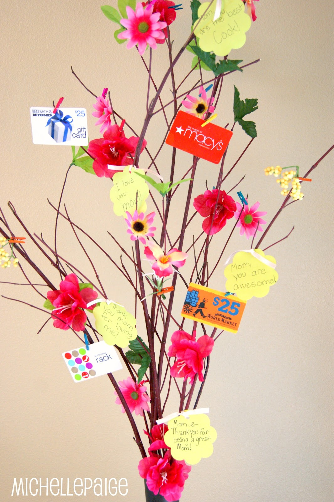 Michelle paige blogs mothers day gift tree and flower bouquet mothers day gift card tree michellepaigeblogs negle Images