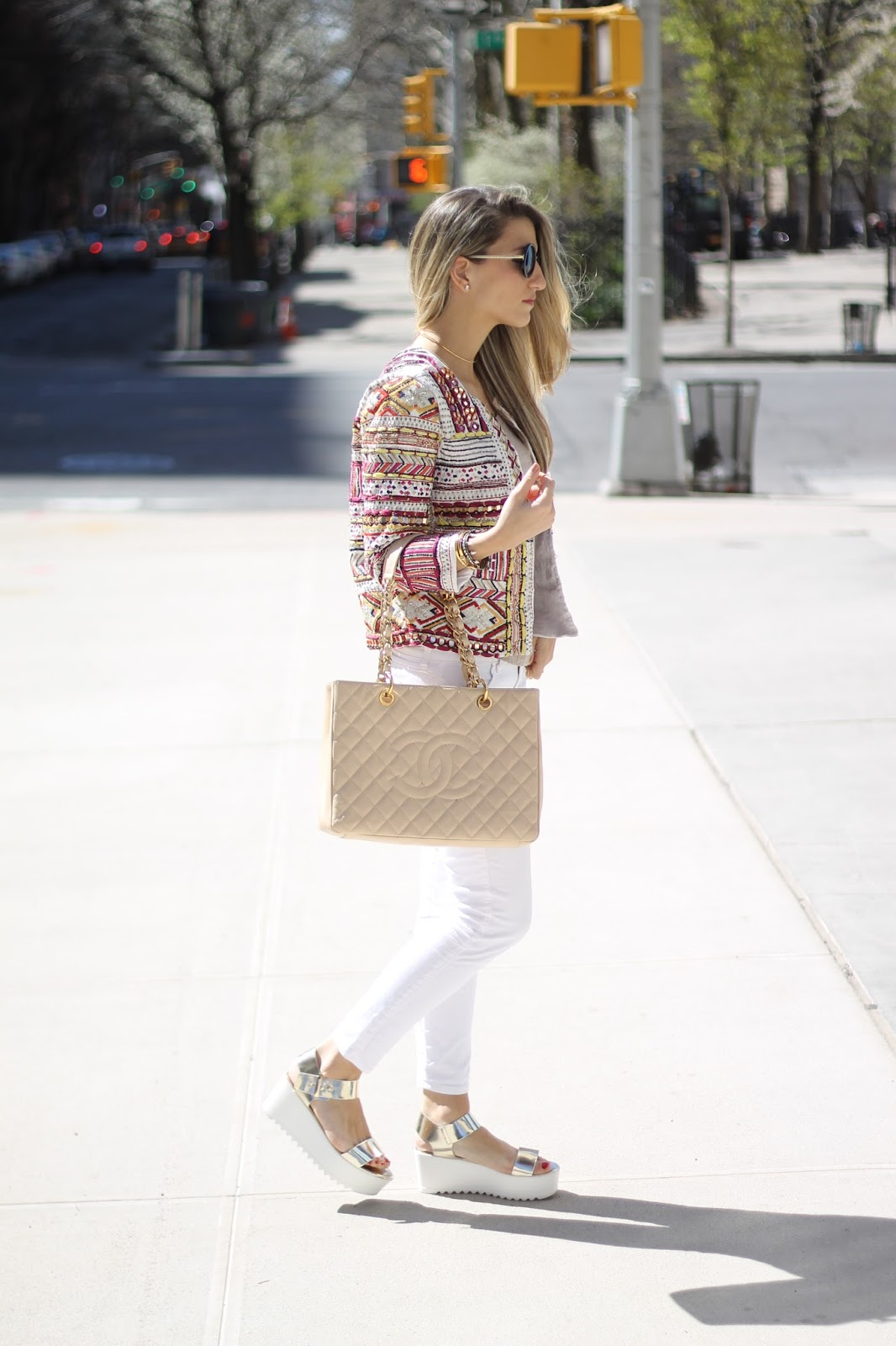 dressed for dreams in, Beige chanel shopper tote