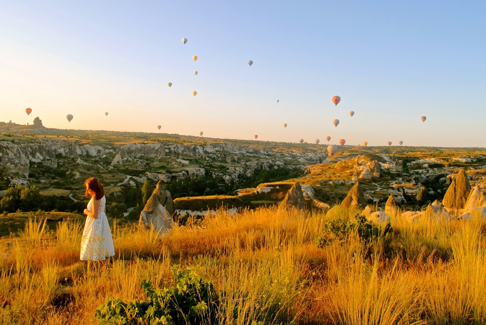 Sunrise and hot air balloons over Goreme from Goreme sunset point