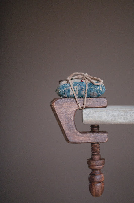 "SEWING CLAMP WITH ANTIQUE FABRIC PINCUSHION, 5""H x 2 5/8""W, Price $35  SOLD"