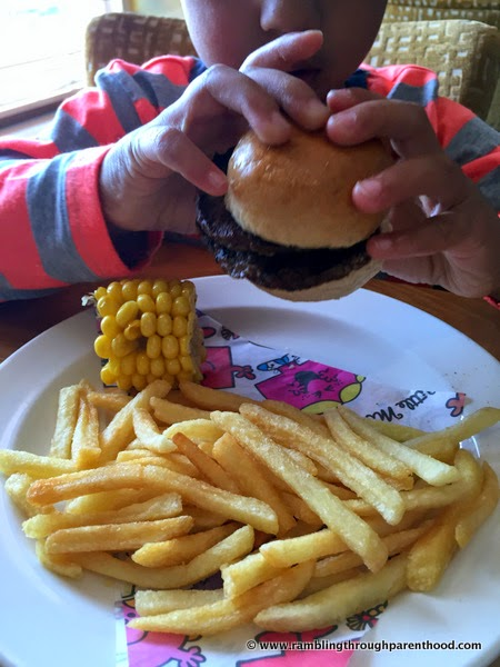 Steak burger from the children's menu at Quay House Beefeater