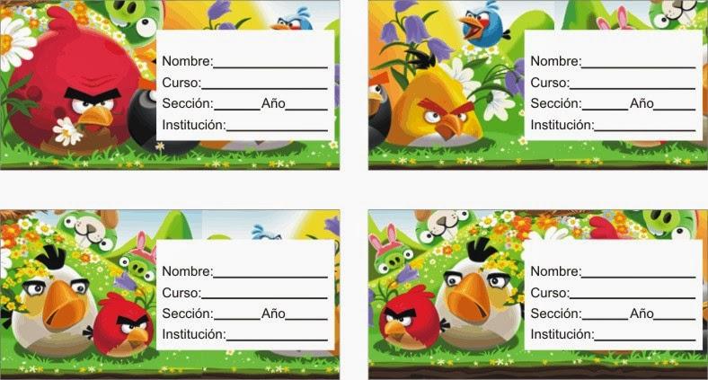 ETIQUETAS PARA CUADERNOS: Nuevo Angry Birds para Imprimir