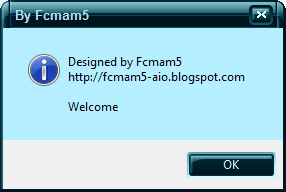 screen shot of dialog message : welcome to my aio by Fcmam5