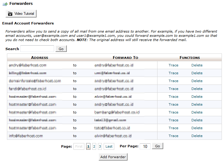 halaman email forwarders - ilmuwebhosting.com