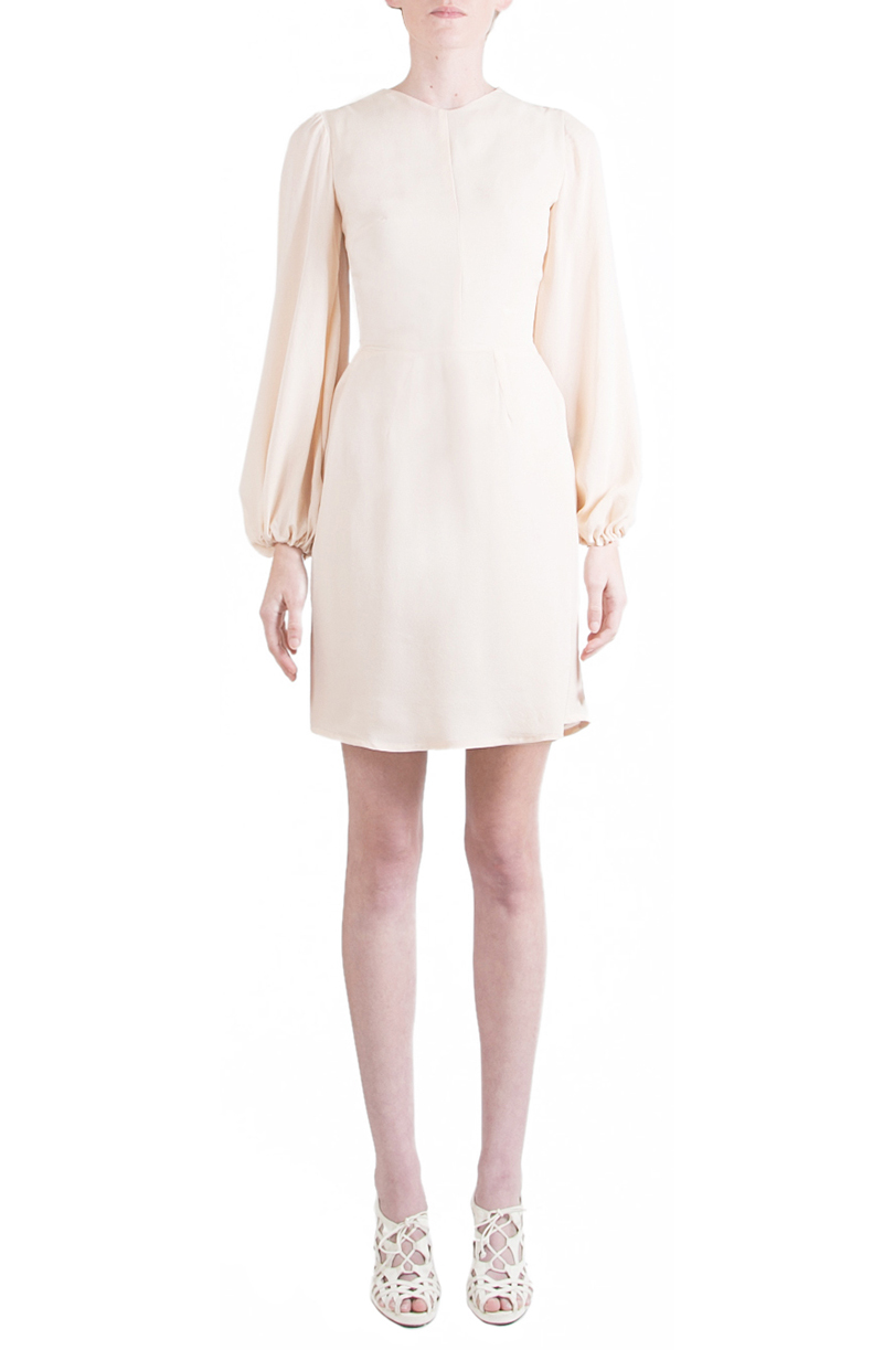 Alyssa Nicole Spring 2015, Silk Bell Sleeve Dress, Nude Chiffon Dress, Silk Chiffon Dress, Luxury Womenswear Collection