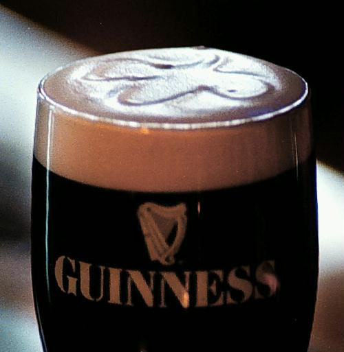 Guinness pint with clover