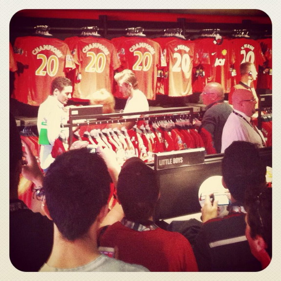 David Beckham spotted shopping at Manchester United Megastore