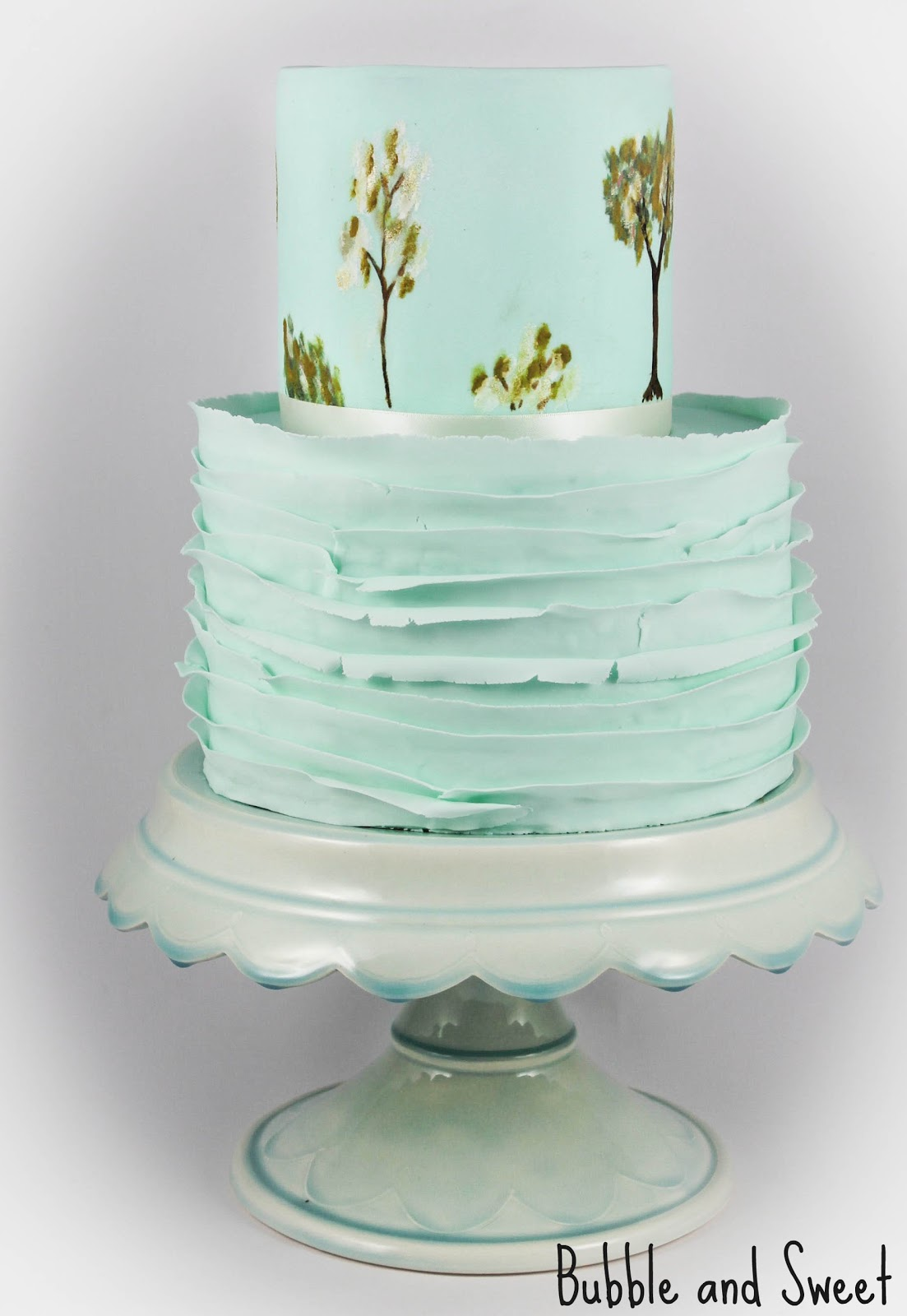 Gallery For Blue Tree Wedding Cake