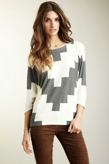 Geometric Stairs Dolman Tunic Sweater