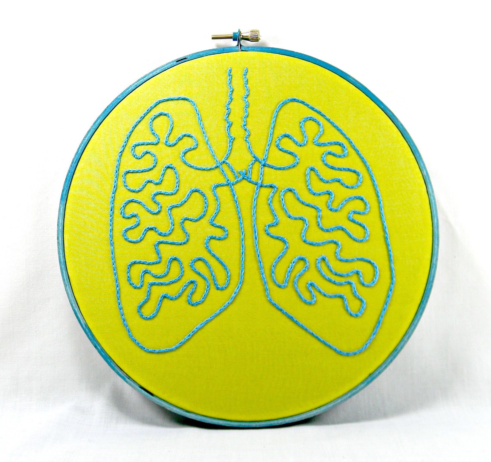 Hey Paul Studios: Anatomical Lungs Hand Embroidery Hoop Art